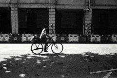 (David Davidoff) Tags: people street life bikebicycle tree leaf shadow architecture analogue monochrome