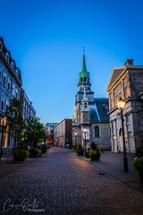 Blue hour in Montreal (corineouellet) Tags: thebluehour nightphoto nightlights night architecture buildings quebec canada canonphoto hdr sunset bluehour bluesky street sidewalk cityscape cityscene city church mtl montréal