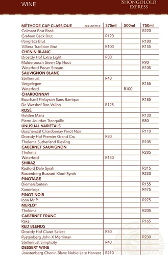Shongololo Express Wine List