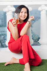 Portraiture shooting with Asian Girl (juhududa) Tags: red asian girl portrait portraiture shooting smile smiling thai thailand female south east asia