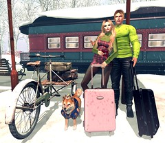 Arrived The Winterland ⛄ (Scarlett Saphira) Tags: secondlife trip winterland winter travel sl second life lovely loving couple lovers love lover bento avatar signature maitreya mesh fitmesh catwa head magy victor vinny shape green sweater long sleeves black nylon stockings red tartan plaid scott prince dog pet luggage luggages passport hold pose beautiful moment beauty train station snow theme snowing blonde hair mistress ds lifestyle travelling travellers traveller