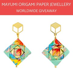 Mayumi Origami Mosaic Earrings (all things paper) Tags: paperjewelry paperearrings origamiearrings paperjewellery mayumiorigami chiogami washi japanesepaper handfolded tropical