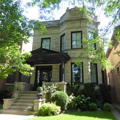 Chicago, Ravenswood Neighborhood Where I Grew Up, Typical Graystone Two-Flat Building on Winchester Avenue (Mary Warren 14.3+ Million Views) Tags: chicago ravenswood neighborhood urban architecture house residence building stone limestone twoflat frontyard