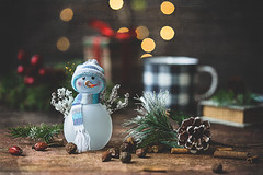 It's the most wonderful time of the year (Chapter2 Studio) Tags: stilllife sonya7ii snowman chapter2studio classic coffee cup book oldbook holiday bokeh pinecone happiness
