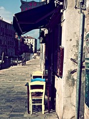 A Morning In Venice (Professor Bop) Tags: cafe caffe restaurant table chairs street canal veniceitaly veneziaitalia olympusem1 professorbop drjazz pavement buildings structures urban morning mosca