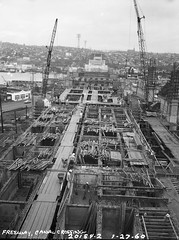 Remember when? I-5 Ship Canal Bridge under construction, 1960 (Seattle Department of Transportation) Tags: seattle sdot transportation municipalarchives rememberwhen historic archive i5 ship canal bridge under construction 1960 cranes thankful