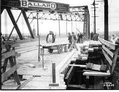 Remember when? Ballard Bridge repair, 1933 (Seattle Department of Transportation) Tags: seattle sdot transportation municipalarchives rememberwhen historic archive ballard bridge repair 1933 industrial key sign thankful