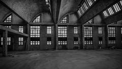 Werkhalle (uwesacher) Tags: mauerwerk beton fenster oberlicht paschenhalle moritzberg hildesheim baustelle niedersachsen deutschland bw sw industrie industry baustruktur staub schutt sanierung phoenix