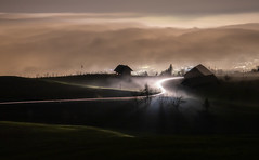 Over the sea of fog (Hegglin Dani) Tags: zug zugerberg fog seaoffog nebelmeer nebel switzerland lights schweiz longexposure langzeitbelichtung