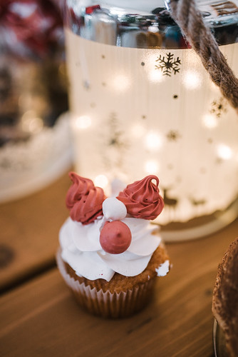 Christmas cake on wooden table
