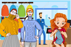 Fashionable Couple Buying Clothes Modern Shop Mall Center Interior (joted_77new) Tags: boutique buy buyer center clothes clothing commerce consumer consumerism customer discount display exterior fashion female flat gift girl guy hold illustration interior lady luxury male mall market marketing men merchandise modern people person promotion purchase retail sale shop shopaholic shopper showcase showroom store vector women couple fashionable credit card mirror