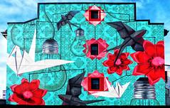 The Delicate Blance of Progress (sharon'soutlook) Tags: mural wallmural wall art wallart anniehamel nickscrimenti hamiltonoh colors colorful red cranes swallows flowers lightbulbs