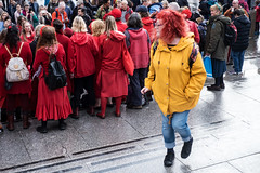 Red and yellow (MauScaMe) Tags: candid rally extintionrebellion red yellow choir manualfocus extinctionrebellion lady square rainy redhair
