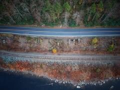 "Boats, Trains and Automobiles (Tim Loesch) Tags: pennsylvania ""delawarewatergap"" spark dji road river ""traintracks"" ""delawareriver"" drone"