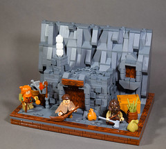 Warscape Structures: Dwarf Dwelling (WarScape) Tags: lego medieval fantasy dwarf structure home dwelling hearth custom landscape rock mountain stone minifigure army commoner civilian castle village town