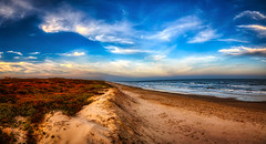 When the Three Elements Meet... Earth, Sea, and Sky! (Bombatron) Tags: beach sand sky clouds blue ocean atlantic padre island texas explore flickr canon 6d 24 105l magical golden hour