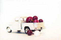 special delivery (rockinmonique) Tags: tinycar truck pickup chevy white red toy highkey marbles moniquewphotography canon canont6s tamron tamron45mm copyright2019moniquewphotography