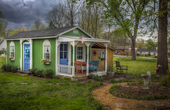 A Green Tiny House (donnieking1811) Tags: tennessee cleveland tinyhouse green building porch americanflag flag exterior outdoors trees sky clouds hdr canon 60d lightroom photomatixpro