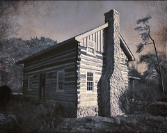Historic Log Cabin (scilit) Tags: cabin logcabin logs chimney fireplace windows door trees forest bushes autumn building structure architecture scenery landscape grunge texture sincerity daarklands imagetrolled