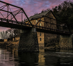 Sunset Over the Motor Mill (jackalope22) Tags: sunset motor mill motormill bridge xmas christmas le longexposure