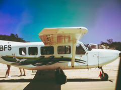 Kgari Flights (the hopeful pessimist) Tags: fraser island plane travel transport fly blue light vintage polaroid holiday adventure beach seaplane cessna