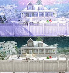 Winter at home (Biatch Fenwitch) Tags: home winter improvise christmas reindeer baulbe snow fence reallights palmtrees love sleigh christmastree beach