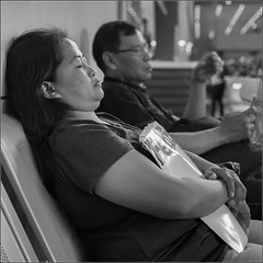 """""""Forty Winks"""" Manila, Philippines (October 2019) (Kommie) Tags: manila philippines candid street photography black white apple iphone 11 pro max filipino lady woman sleeping"""