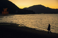 Twilight Beach at Miyajima, Japan (somazeon) Tags: sunset sea beach japan twilight dusk hiroshima miyajima torii