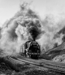A Blast from the Past (photofitzp) Tags: 777 blackandwhite harburycuttimg railways sirlamiel smoke steam theshakespeare bw