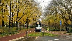 Langs de Omgeleide Lijn: Herfst op het plein. (Peter ( phonepics only) Eijkman) Tags: amsterdam city trapkar bn gvb omleiding detour tram transport trams tramtracks trolley rail rails strassenbahn streetcars nederland netherlands nederlandse noordholland holland