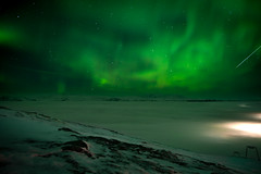 Unexpected visitor (Julien Widemann) Tags: aurora borealis northern lights sweden abisko sky station mountains shooting star clouds cloudy night dark lapland winter solar wind green wave