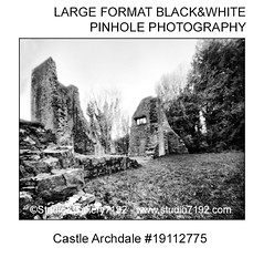 Castle Archdale #19112775 - This black and white camera obscura photo is NOT sharp due to camera characteristic. Taken on film with a pinhole cameraFomapan 100 - 14 sec. - Developer: Rodinal 1+50 9 Min., Fixer: Adofix Plus 1+9 6 Min., with a professional (jbeugephoto) Tags: fermanagh tourism nature forest landscape travel old outdoor ireland archdale park enniskillen castle irish scenic europe wooden trees beautiful castlearchdale natural northernireland ruin country historical northern photography pinhole photo black vintage retro photographic analog image nobody obscura white oldfashioned pinholecamera foma fomapan developer rodinal fixer adofix lerouge45 lerouge54 large format