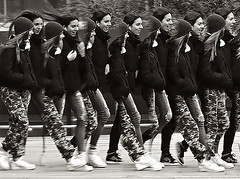 Panoramic Candid of Girls At Lincoln Center (nrhodesphotos(the_eye_of_the_moment)) Tags: dsc009213001084 wwwflickrcomphotostheeyeofthemoment theyeofthemoment21gmailcom monochrome blackandwhite panoramic dancing manhattan nyc candid outdoors lincolncenter girls women artistic steppingout ©yourbestoftoday©throughmyeyes