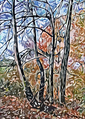 Lens & Brush 22 (V_Dagaev) Tags: trees forest autumn sky art landscape nature painterly painting painter paintingsfromphotos paint digital visualdelights
