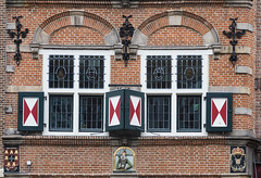 Second storey, Voorstraat 14, Utrecht (natures-pencil) Tags: voorstraat utrecht nederland netherlands theredfox derodevosch architecture building historic decorations portugal kingofportugal coatofarms wroughtironwork lovelycity upperstorey