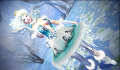 Snow Queen (kyoka jun) Tags: snow queen winter irrisistible shop enchantment event snowflakes ice blue frozen hairs headpiece jewerly jewel boots shoes heels dress mesh outfit clothes women princess fantasy bodysuit maitreya movie elsa blond costume fancy fun flowers crystal fashion design