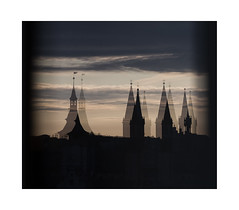 reflection play (Armin Fuchs) Tags: arminfuchs lavillelaplusdangereuse würzburg reflections window dom rathaus sky clouds 6x7 evening