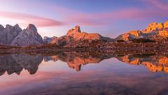 Torre dei Scarperi (Arnaud Grimaldi) Tags: torre dei scarperi dolomiti tre cime lake dolomites italia italy italie alpi alps mountain reflexion sunset