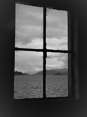 (Julie Rutherford1 ( off/on )) Tags: island lismore julie rutherford house building trees roof scotland hebides inner croft mountains loch linnhe moody sea water rocks highlands window rust cracked glass jagged broken