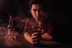 Selfie Whisky Shot with smokemood (Qilin92) Tags: southerncomfort whisky whiskyshot samyang samyang3514 sony sonya7r sonymirrorless drink smoke smokemood mood selfie portrait warmtones tattoo pierced piercing