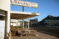 (patrickjoust) Tags: tonopah nevada nv old car auto automobile vehicle garage repair shop fujica gw690 kodak portra 160 6x9 medium format 120 rangefinder 90mm f35 fujinon lens c41 color negative film manual focus analog mechanical patrick joust patrickjoust west united states north america estados unidos gold mizpah hotel motel sign main street mountain desert hand painted