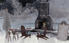A night next to Christmas (Rose Sternberg) Tags: deco decor home furniture garden interior outdoor landscape second life november 2019 exclusive for the jewel fireplace flourish sales studio adirondack chair texture change blanket hot chocolate cookie tray little branch southern magnolia shrub animated 4 seasons crispy grass your dreams christmas tree snow cosmopolitan event refuge fairytale mirror silver galland homes male female reindeer tannenbaum