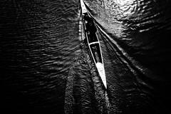 Ripples (y uzen (犬も歩けば…)) Tags: bw monochrome canoe boat river water japaninbw