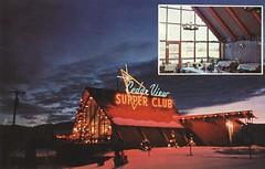 Cedar View Supper Club - Soda Springs, Idaho (The Cardboard America Archives) Tags: supperclub restaurant sodasprings idaho vintage postcard capa snow night aframe christmaslights