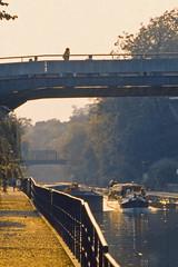 Water Bus (AntyDiluvian) Tags: england greatbritain britain london vintage zoo londonzoo canal regentscanal canalboat waterbus bridge