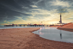 Blackpool Pier (Peter.Basiuk Photography) Tags: blackpooltower blackpoolpier ferriswheel beach water sea reflections sunset dramaticclouds coast resort golden mile blackpool lights illuminations sand