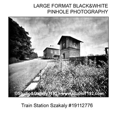 Train Station Szakaly #19112776 - This black and white camera obscura photo is NOT sharp due to camera characteristic. Taken on film with a pinhole cameraFomapan 100 - 50 sec. - Developer: Rodinal 1+50 9 Min., Fixer: Adofix Plus 1+9 6 Min., with a profess (jbeugephoto) Tags: szakaly tolna hungary vasúti sor train station road street photography pinhole photo black vintage retro photographic analog image nobody obscura white oldfashioned pinholecamera foma fomapan developer rodinal fixer adofix lerouge45 lerouge54 large format