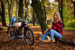 Sara (Michał Banach) Tags: komar moped nikond850 prl poland polska rogalin rogalinlandscapepark rometkomar tamronsp85mmf18divcusd autumn beautiful beauty female girl polishgirl portrait portret sun tree trees woman mosina greaterpolandvoivodeship
