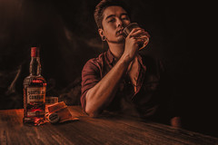 Selfie Whisky Shot with smoke mood (Qilin92) Tags: southerncomfort whisky whiskyshot samyang samyang3514 sony sonya7r sonymirrorless drink smoke smokemood mood selfie portrait warmtones tattoo pierced piercing