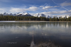 Hidden beneath (Canon Queen Rocks (3,250,000 + views)) Tags: water landscape lake landscapes landschaft nature trees mountains momentsbycelinecom clouds sky scenery scenic snow snowcapped reflections kananaskis alberta canada ice winter bluesky blues white rockies